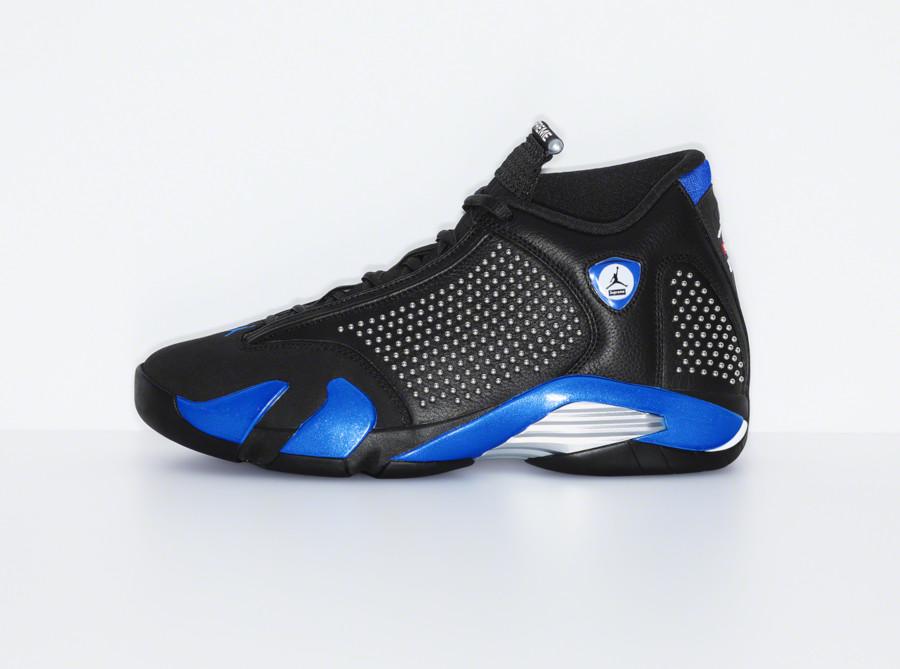 Supreme x Air Jordan XIV noire et bleue (2)