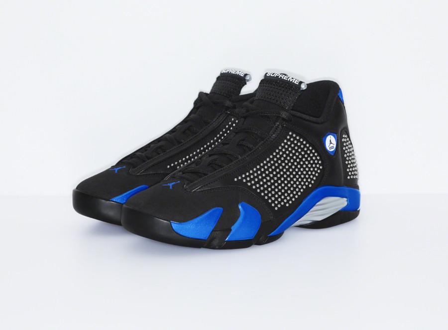 Supreme x Air Jordan XIV noire et bleue (3)