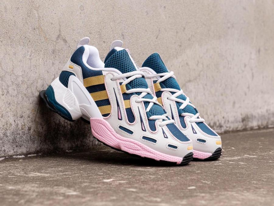Adidas Equipment Gazelle blanche bleu pétrol et rose (2)