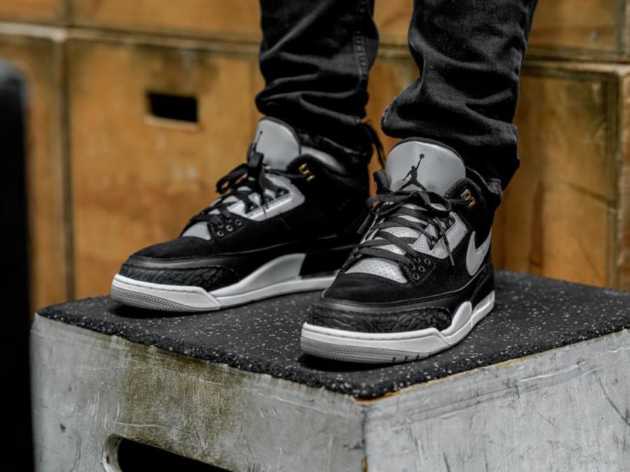 Air Jordan 3 Retro noire et grise avec un imprimé éléphant (2)