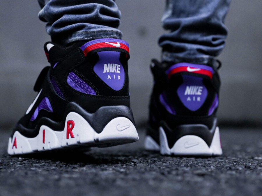 Nike Air Barrage Mid QS Black White Hyper Grape on feet (2)