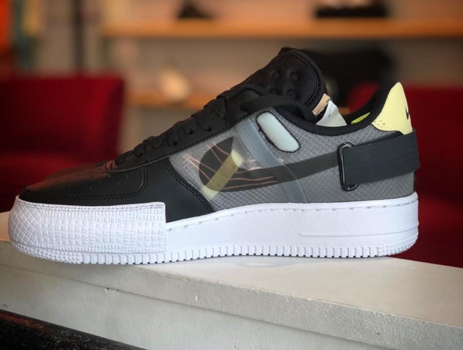 Nike Air Force 1 type basse noire jaune et rose CI0054-001 (4)