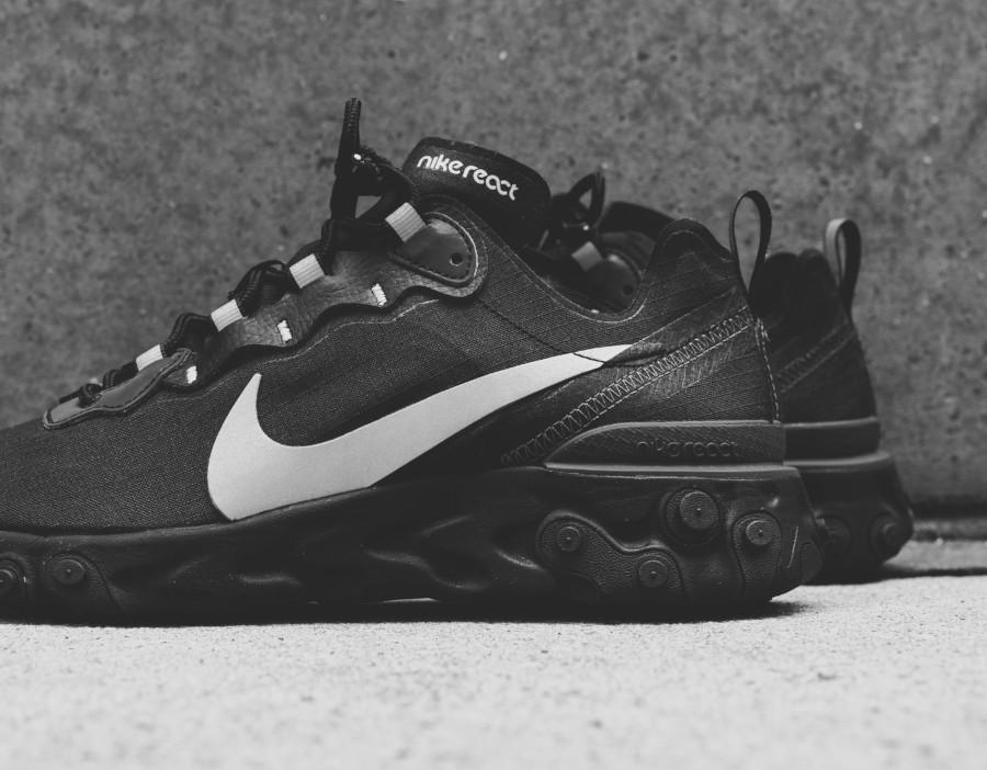Nike React Element 55 SE noire grise et réfléchissante (2)
