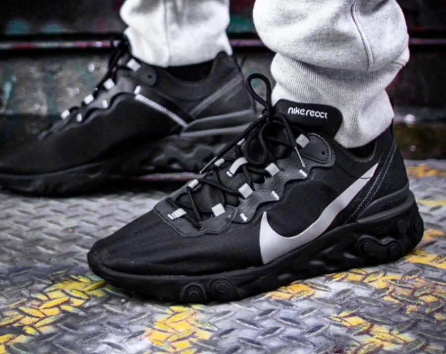 Nike React Element 55 SE noire grise et réfléchissante (4)