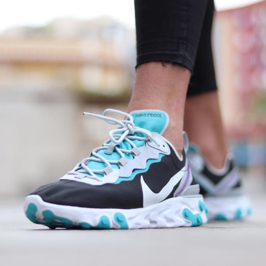Nike React Element 55 Special Edition noire grise et bleu turquoise (3)