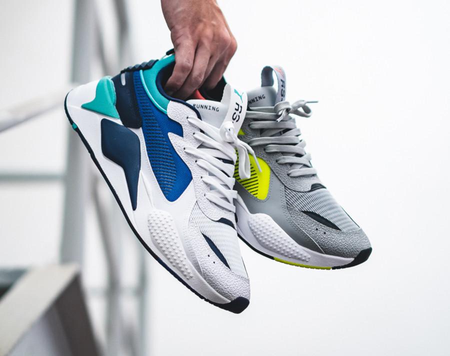 Puma RSX blanche bleu et vert turquoise (1)