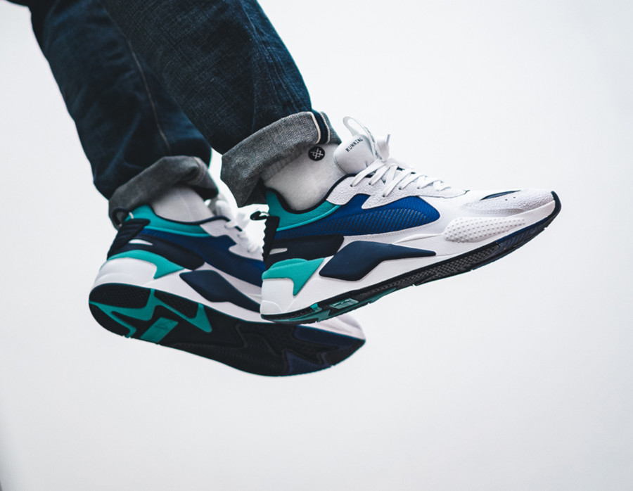 Puma RSX blanche bleu et vert turquoise (5)