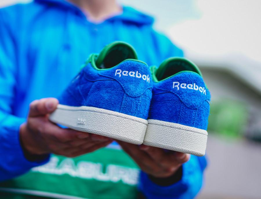 Reebok Classics Club C 85 en suède bleu et vert (1)