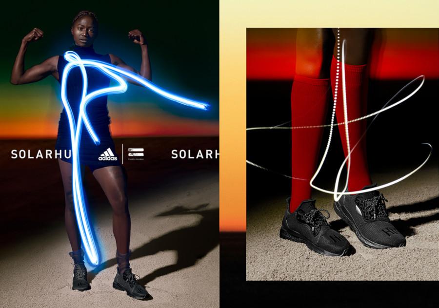 Tori Bowie en Adidas Solar Hu Greyscale