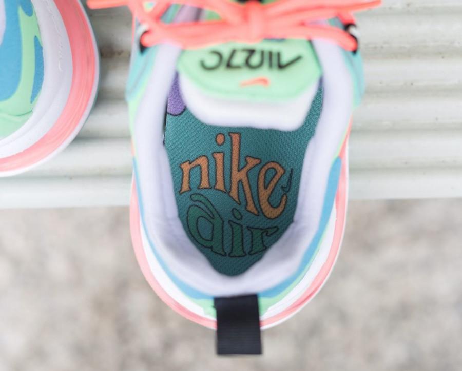 Womens Nike Air Max 270 React bleu ciel vert et rose (1)
