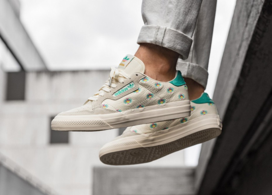 Adidas-Continental-Vulc-blanche-et-vert-turquoise-FV2714-3