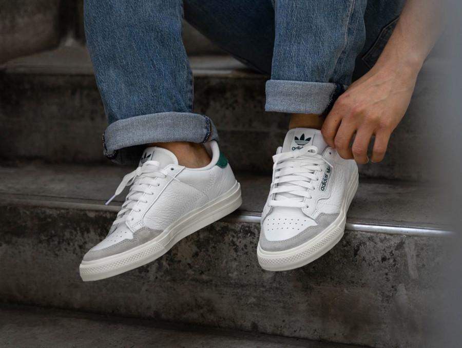 Adidas Continental semelle vulcanisée blanche et verte (4)