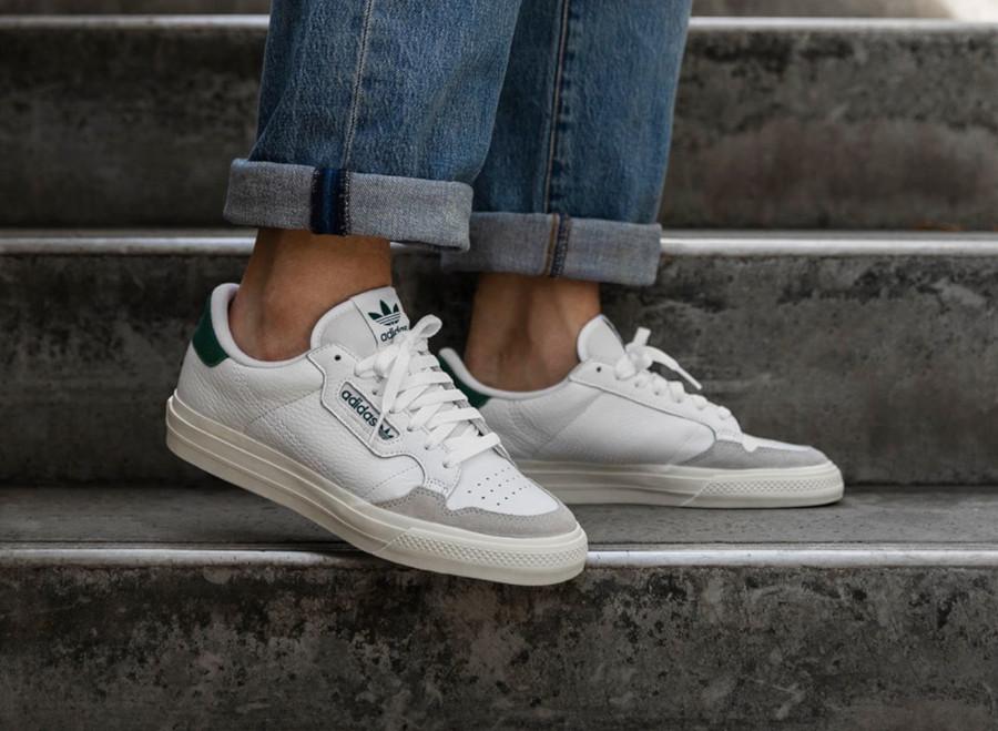 Adidas Continental semelle vulcanisée blanche et verte (5)