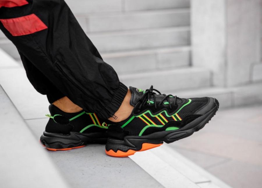 Adidas-Ozweego-Black-Solar-Green-Coral-EE5696