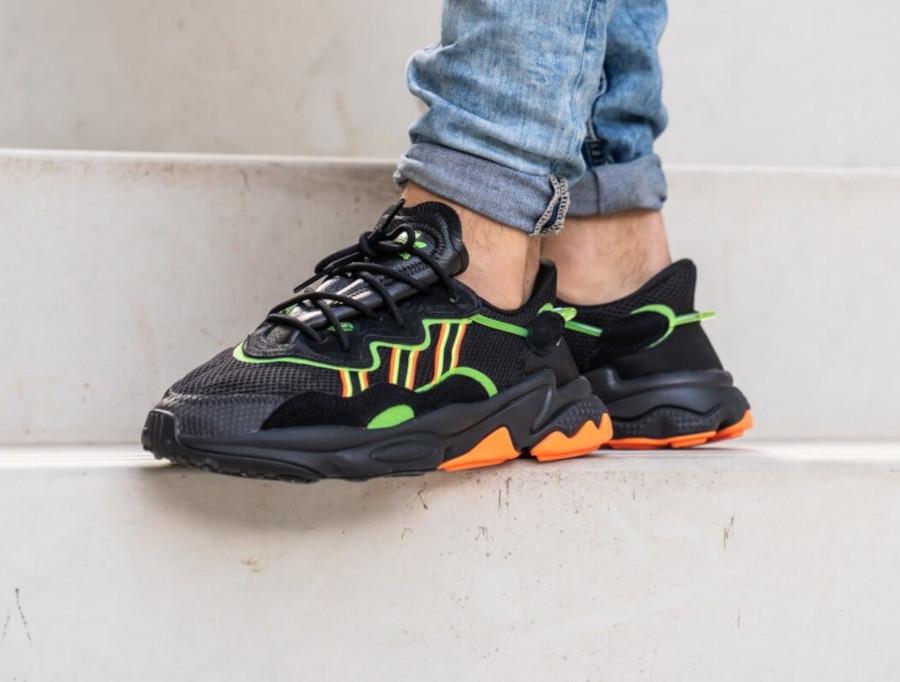 Adidas Ozweego noire vert fluo et orange (4)