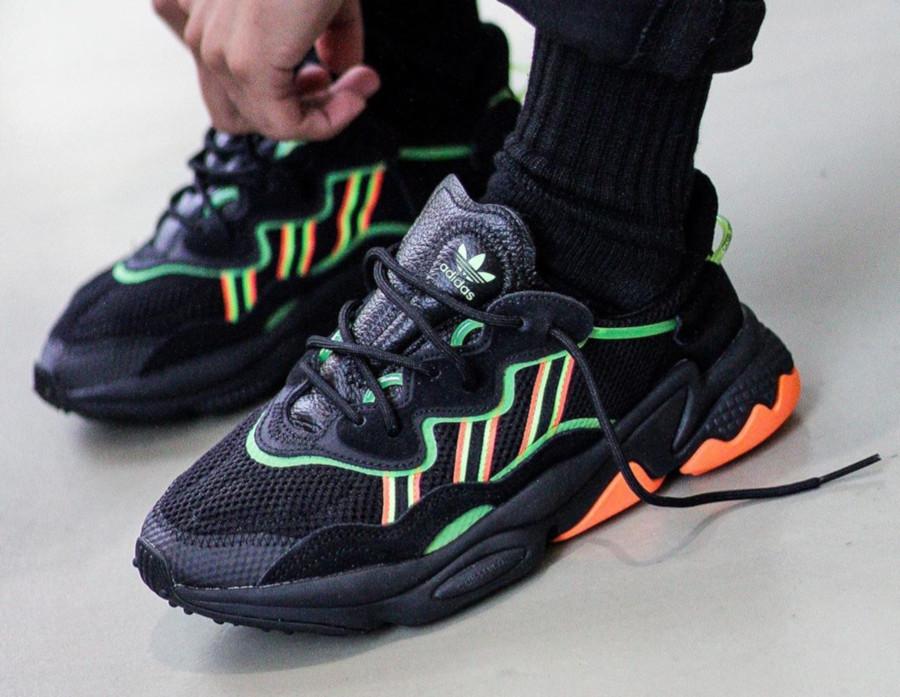 Adidas Ozweego noire vert fluo et orange (5)
