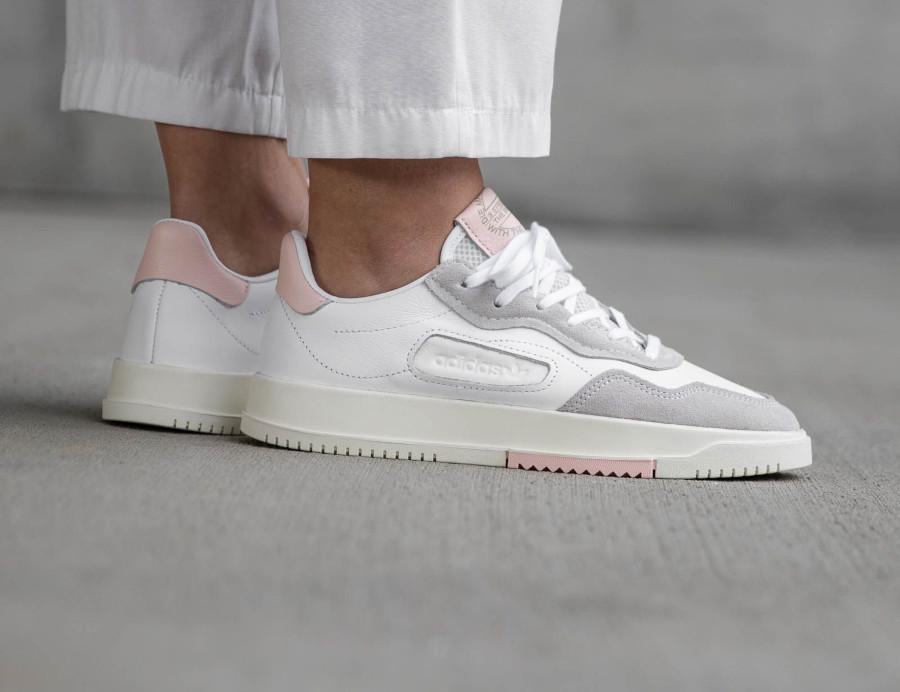 Adidas Super Court Premiere blanche grise et rose (3)