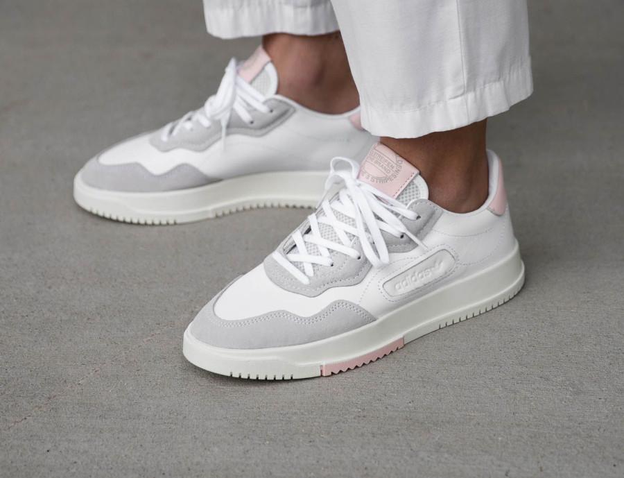 Adidas Super Court Premiere blanche grise et rose (4)