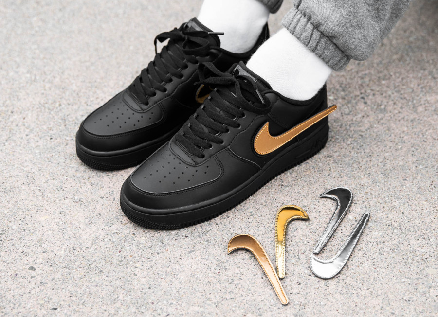 Nike-Air-Force-1-07-LV8-Black-Removable-Metallic-Swoosh