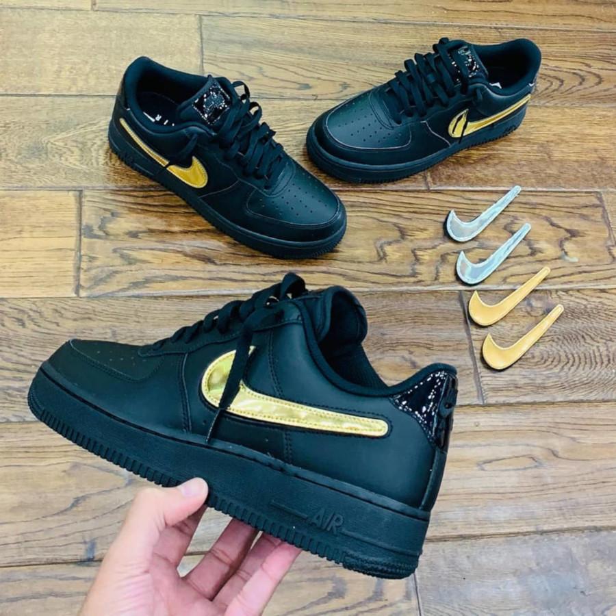 Nike Air Force 1 basse noire avec swoosh métallique interchangeable (1)