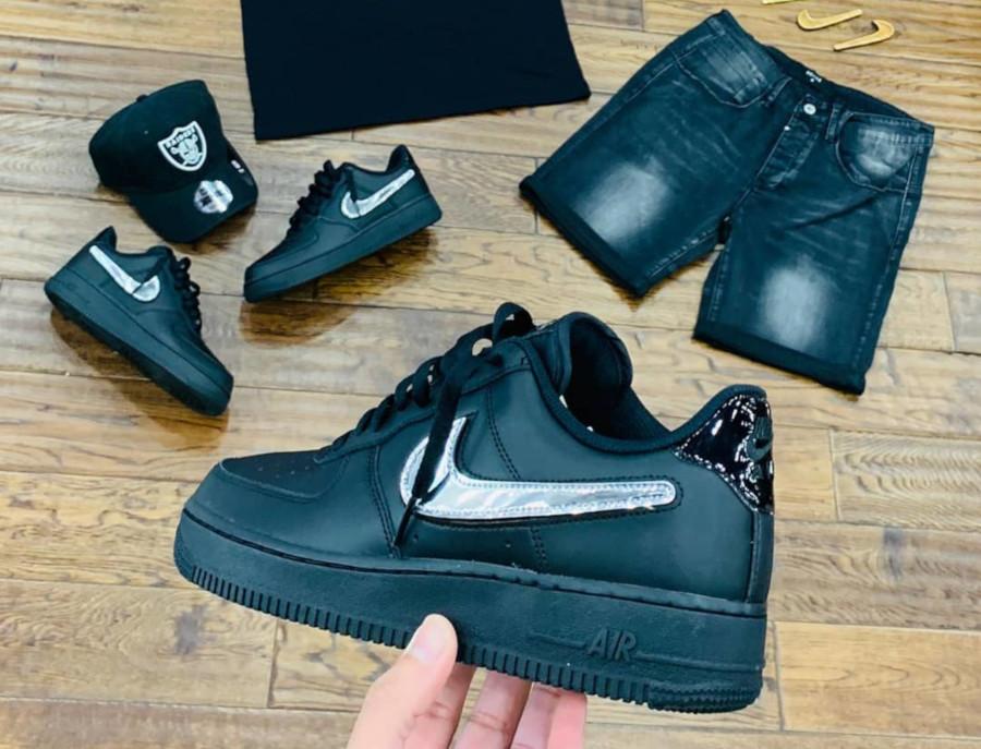 Nike Air Force 1 basse noire avec swoosh métallique interchangeable (2)