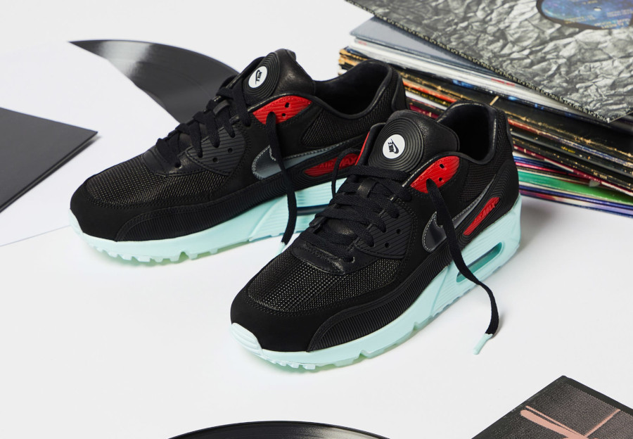 Nike Air Max 90 Premium disque noire rouge bleu pastel (3)