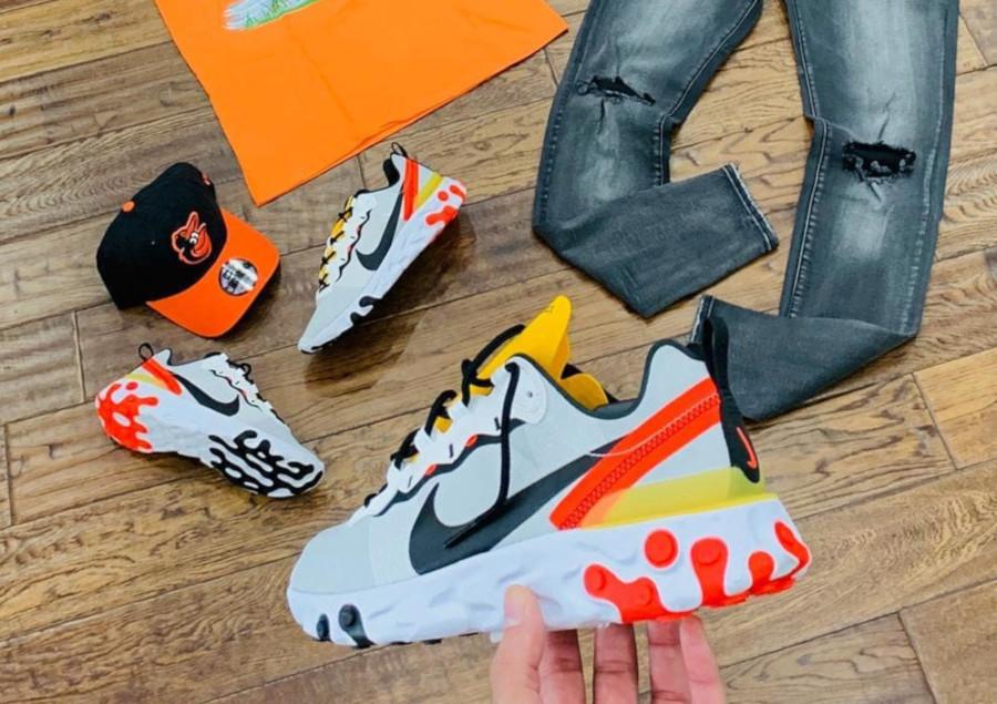 Nike React Element 55 blanche noire jaune et orange (1)