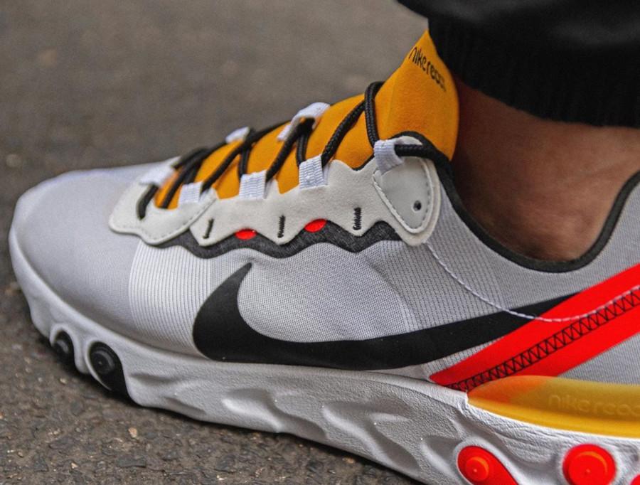 Nike React Element 55 blanche noire jaune et orange (3)