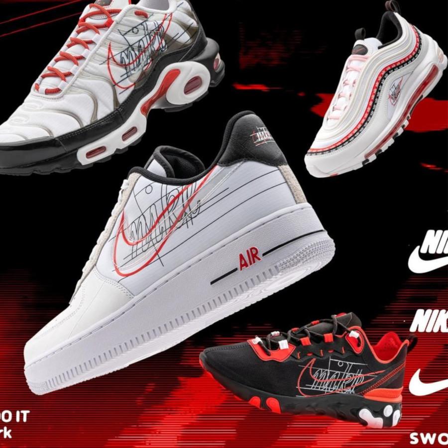 Nike React Element 55 rouge noire et blanche (2)