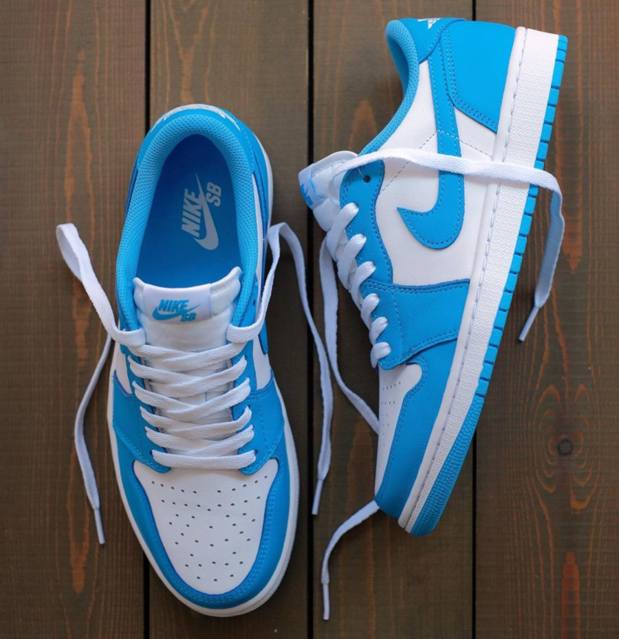 Nike SB x Air Jordan 1 Low blanche et bleu ciel (2)