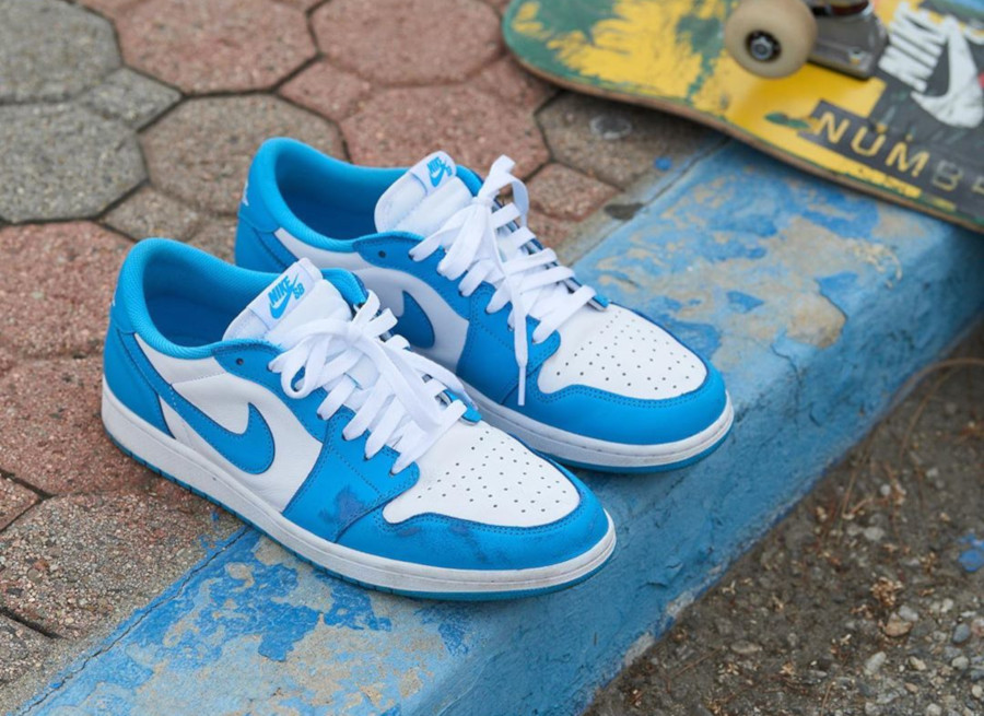 Nike SB x Air Jordan 1 Low blanche et bleu ciel (5-1)