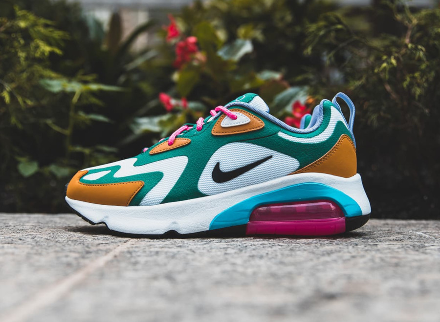 Womens Nike Air Max 200 blanche turquoise marron et rose (3)