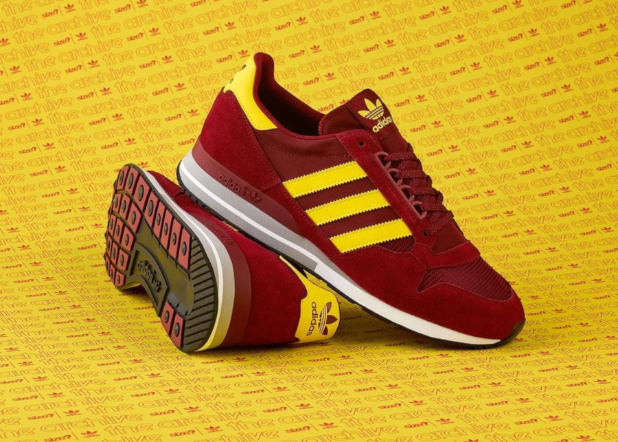 Adidas ZX500 Size Maroon Yellow (The Archive)