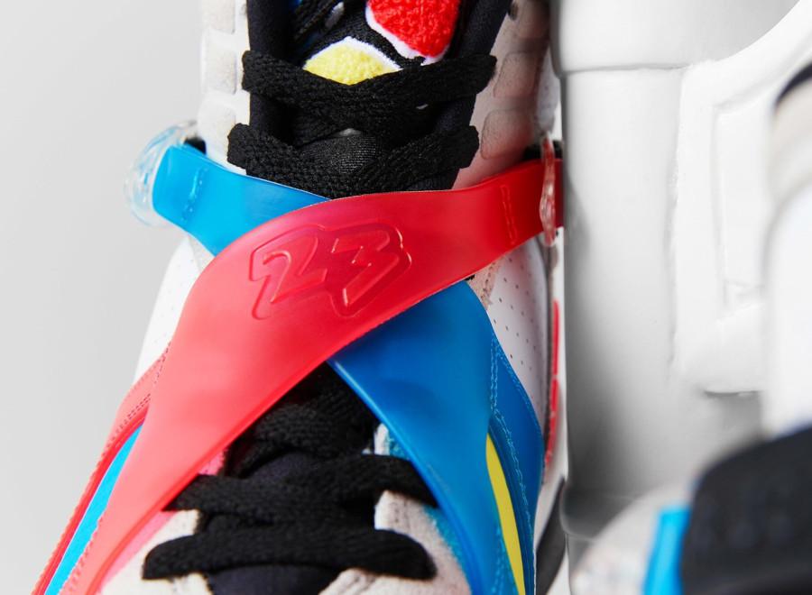 Air Jordan 8 Special Edition blanche bleue jaune et rouge (4)