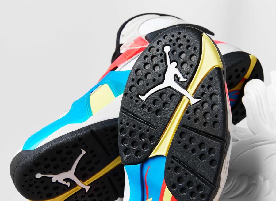 Air Jordan 8 Special Edition blanche bleue jaune et rouge (5)
