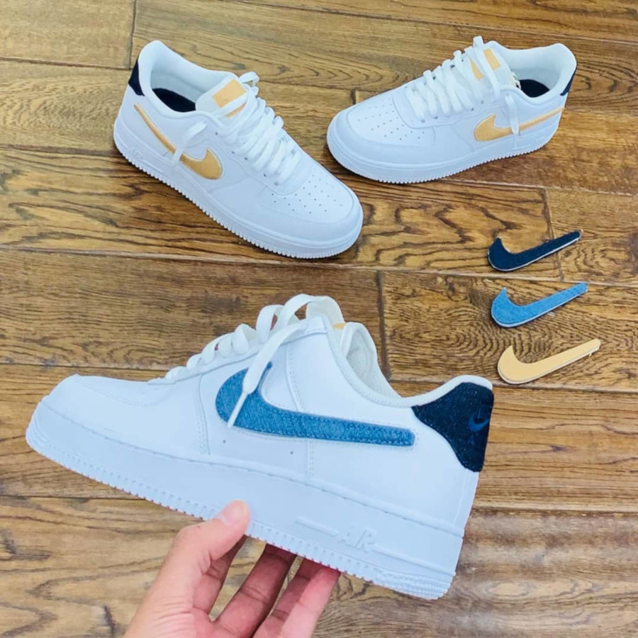 Nike Air Force 1 '07 LV8 blanche avec 3 swooshes interchangeables (1)