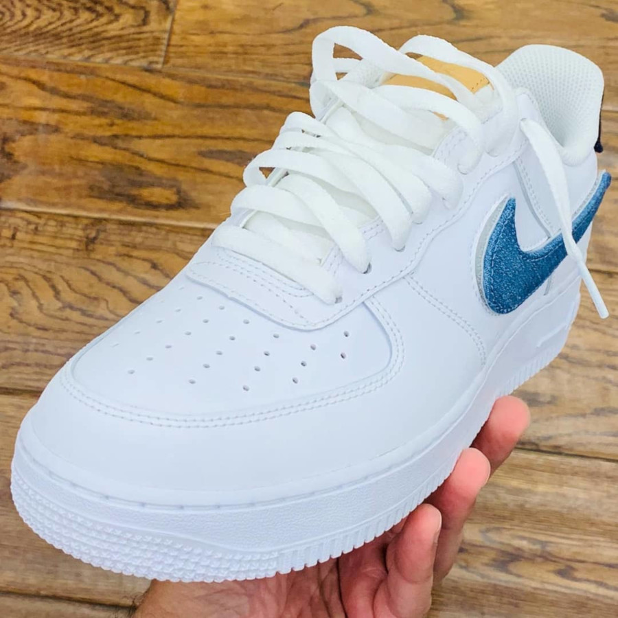Nike Air Force 1 '07 LV8 blanche avec 3 swooshes interchangeables (2)