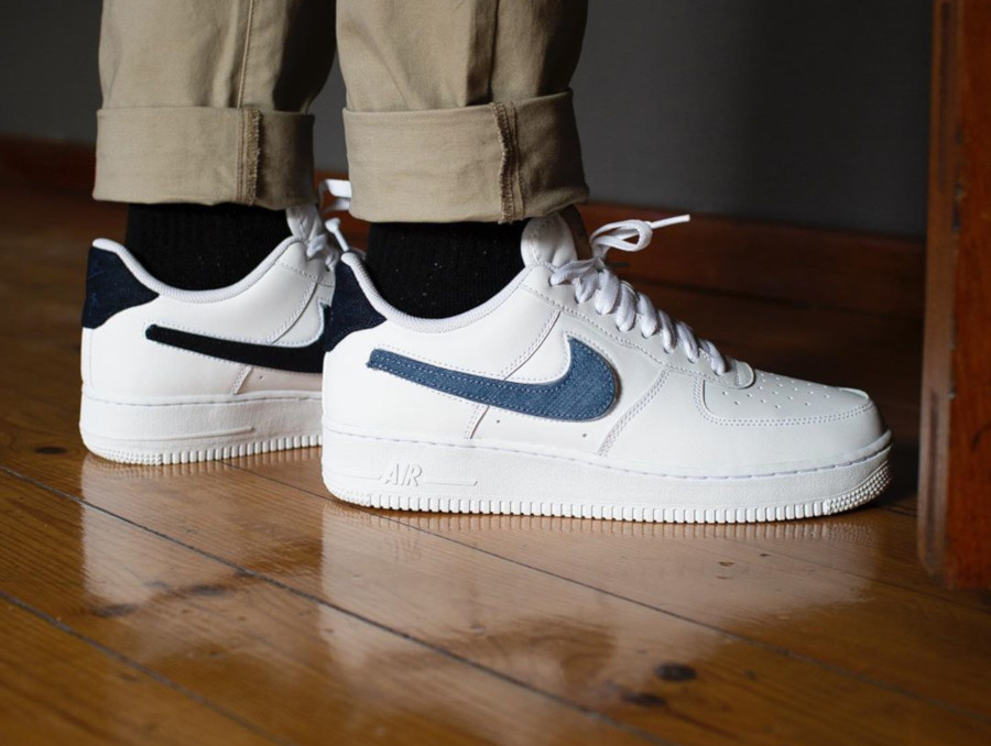 Nike Air Force 1 '07 LV8 blanche avec 3 swooshes interchangeables (4)