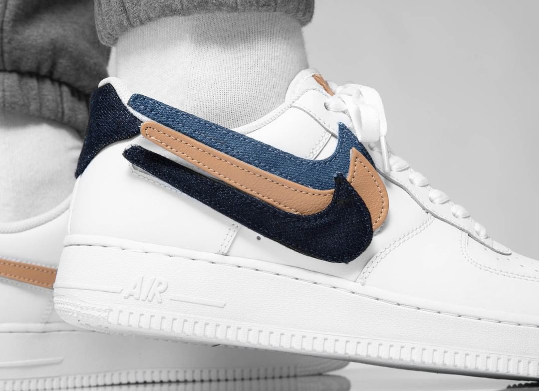 Nike Air Force 1 '07 LV8 blanche avec 3 swooshes interchangeables (6)