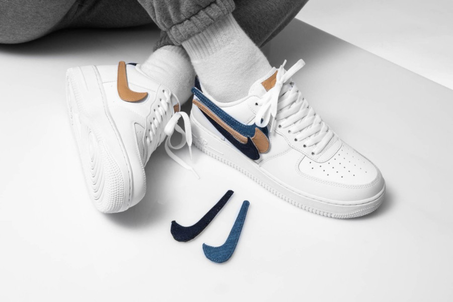 Nike Air Force 1 '07 LV8 blanche avec 3 swooshes interchangeables (7)