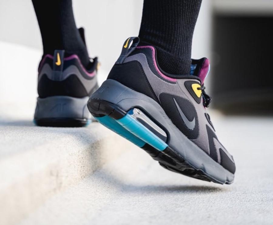 Nike Air Max 200 noire grise violet jaune et turquoise (2)