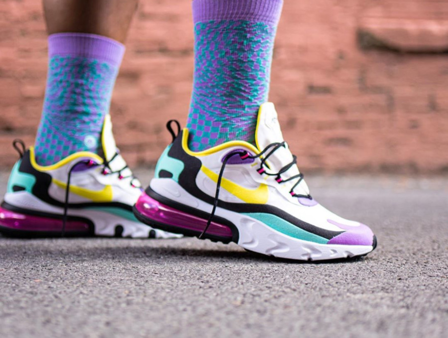 Nike Air Max 270 React Geometric Abstract Dynamic Yellow Bright Violet on feet (1)