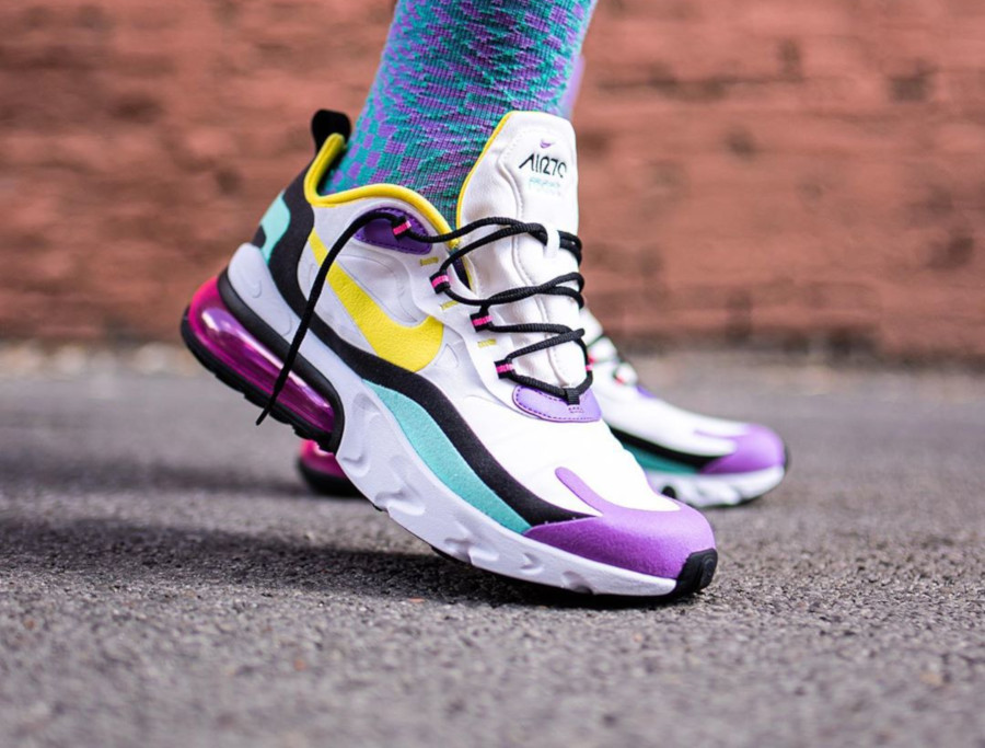 Nike Air Max 270 React Geometric Abstract Dynamic Yellow Bright Violet on feet (2)