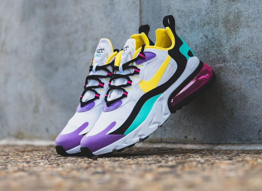 Nike Air Max 270 React blanche violet jaune turquoise et rose (1)