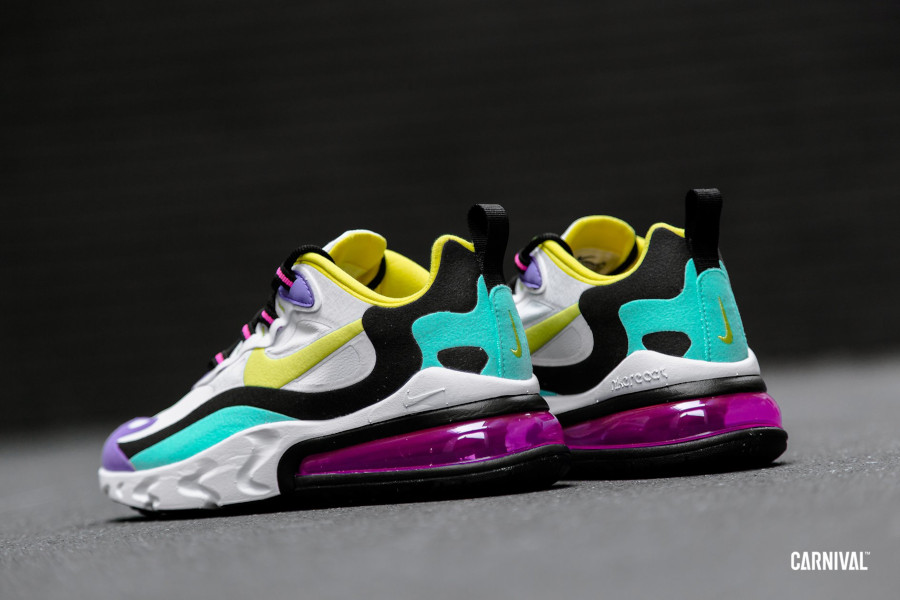 Nike Air Max 270 React blanche violet jaune turquoise et rose (2)