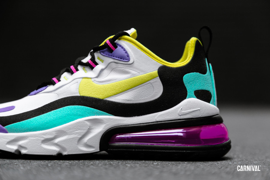 Nike Air Max 270 React blanche violet jaune turquoise et rose (3)