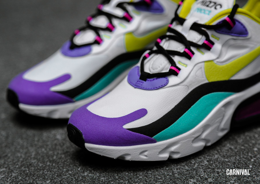 Nike Air Max 270 React blanche violet jaune turquoise et rose (4)