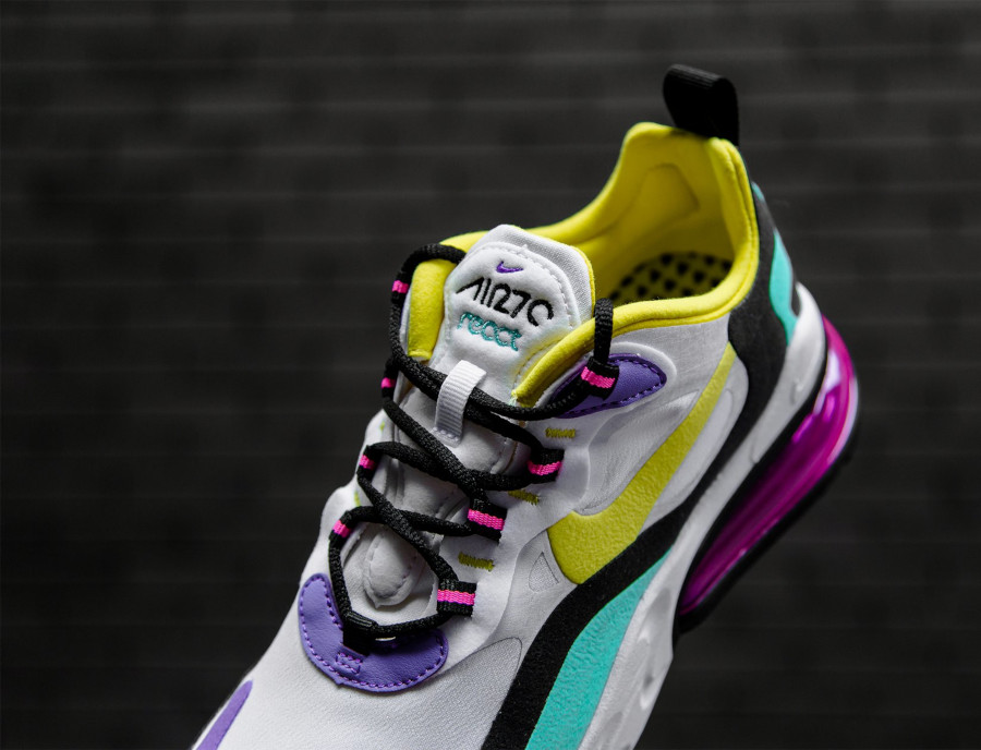 Nike Air Max 270 React blanche violet jaune turquoise et rose (5)