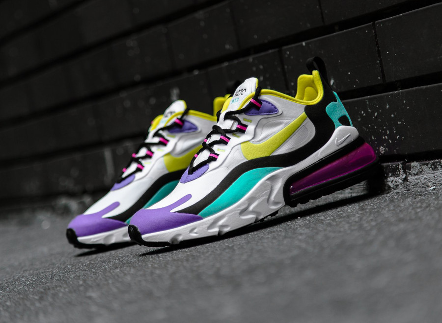 Nike Air Max 270 React blanche violet jaune turquoise et rose (6)