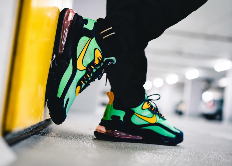 Nike Air Max 270 React vert noire et jaune (3)